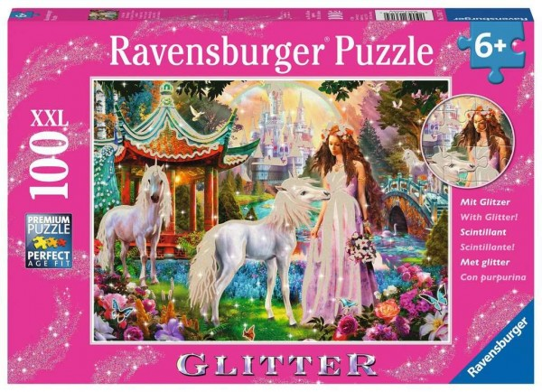Ravensburger Kinderpuzzle - Im Reich der Blütenkönigin 100 Teile XXL Spielzeug