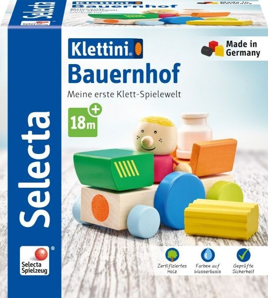 Schmidt Spiele Selecta Klettini® Bauernhof, Klett-Stapelspielzeug Spielzeug