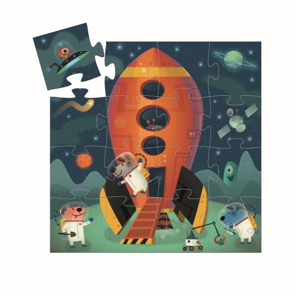 DJECO Formen Puzzle: Spaceship 16 Teile Spielzeug
