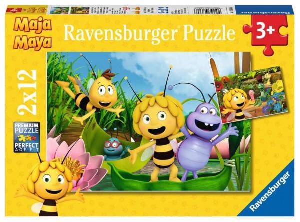 Ravensburger Kinderpuzzle 2 x 12 Teile - Biene Maja, Ausflug mit Biene Maja Spielzeug