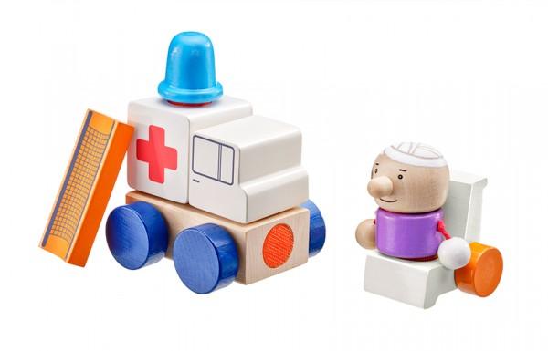 Schmidt Spiele Krankenwagen, Klett-Stapelspielzeug, 7 Teile Spielzeug