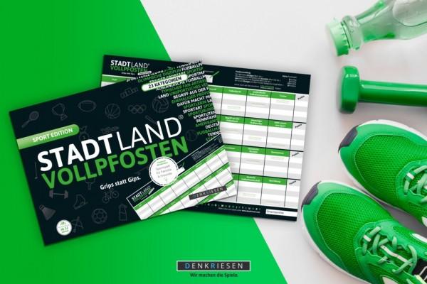 """Denkriesen STADT LAND VOLLPFOSTEN® – SPORT EDITION """"Grips statt Gips."""" Spielzeug"""