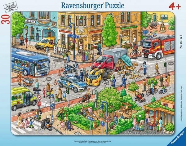 Ravensburger Spieleverlag Kinderpuzzle - Unterwegs in der Stadt 30 Teile Spielzeug