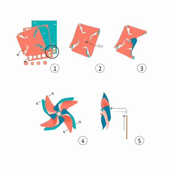 DJECO Do it yourself: Windräder zum Basteln Punkte Spielzeug