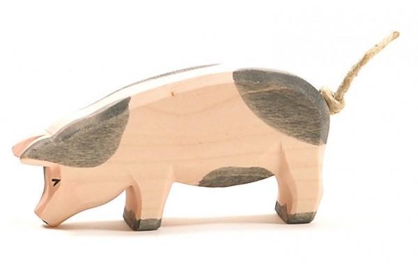 Ostheimer Figur Schwein Kopf tief gefleckt Spielzeug