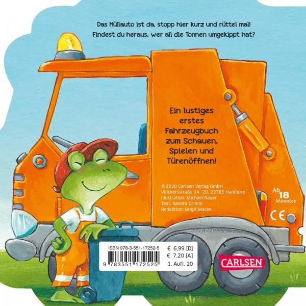 CARLSEN Mein kleiner Fahrzeugspaß: Rüttel, das Müllauto (Pappenbuch) Lustiges Reimebuch mit Klappen in Autoform - ab 18 Monaten Spielzeug