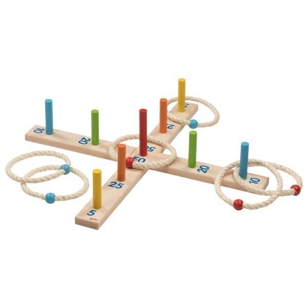 Goki Ringwurfspiel mit 6 Sisalringen Spielzeug