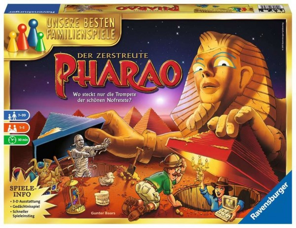 Ravensburger Gesellschaftsspiel - Der zerstreute Pharao 26656 - Familienspiel ab 7 Jahren Spielzeug