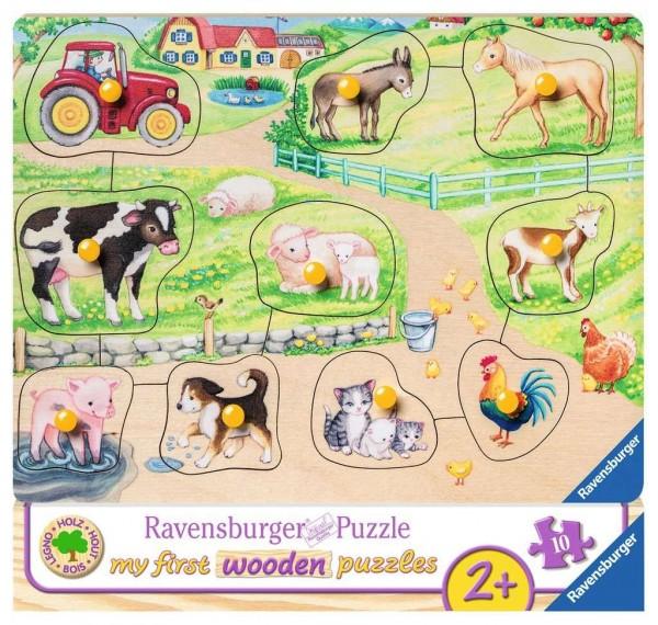 Ravensburger Kinderpuzzle - Morgens auf dem Bauernhof 10 Teile Spielzeug
