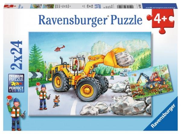Ravensburger Puzzle Bagger und Waldtraktor 2 X 24 Teile Spielzeug