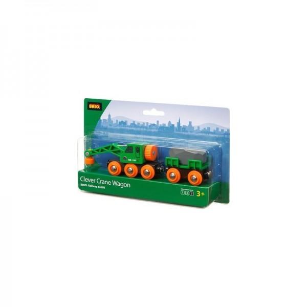 Brio Grüner Kranwagen mit Anhänger Spielzeug
