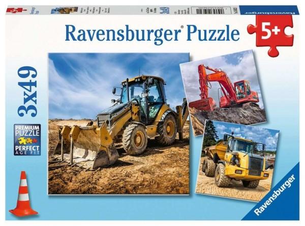 Ravensburger Spiele Kinderpuzzle - Baufahrzeuge im Einsatz 3 x 49 Teile Spielzeug