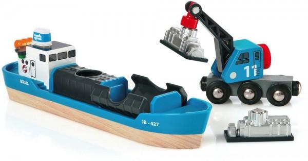 Brio Containerschiff mit Kranwagen Spielzeug