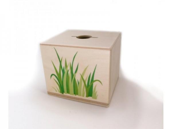 Rundum Holzspardose Gras natur Spielzeug