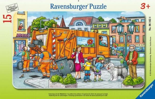 Ravensburger Kinderpuzzle - Unterwegs mit der Müllabfuhr 15 Teile Spielzeug
