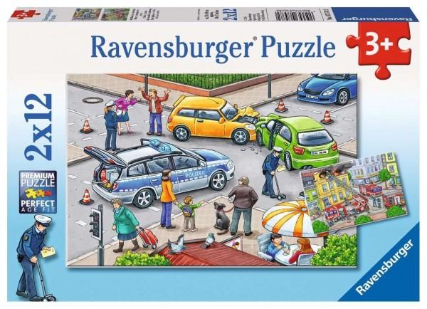 Ravensburger Mit Blaulicht unterweg Puzzle 2 X 12 Teile Spielzeug