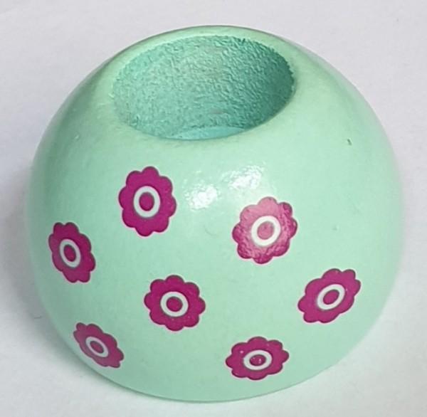 Rundum Kerzenhalter Mint m. pinken blümchen Spielzeug