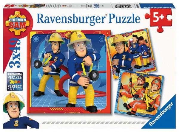 Ravensburger Spiele Kinderpuzzle - Feuerwehrmann Sam, Unser Held Sam 3 x 49 Teile Spielzeug
