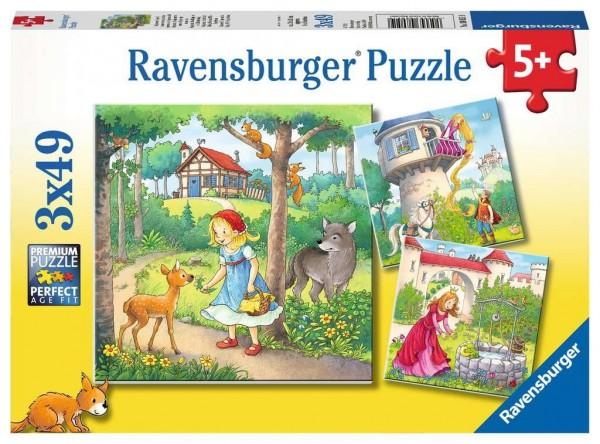 Ravensburger Märchen Rapunzel, Rotkäpchen & Frosch Puzzle 3 X 49 Teile Spielzeug