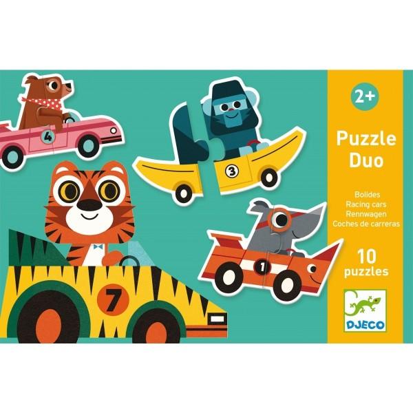 DJECO Lernspiele: Puzzle duo/trio: Rennautos Spielzeug