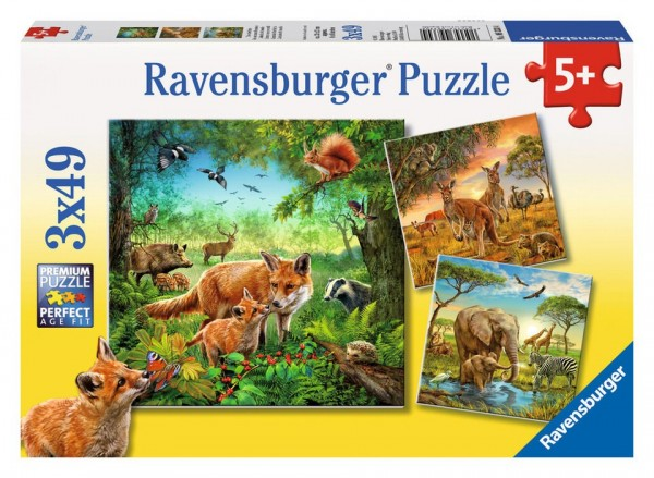 Ravensburger Puzzle 3x49 Teile Tiere der Erde Spielzeug
