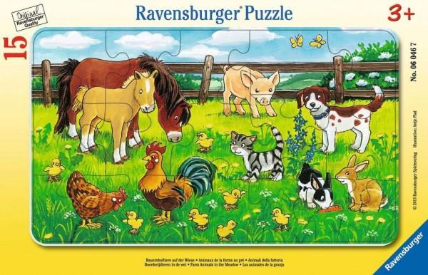 Ravensburger Bauernhoftiere auf der Wiese Rahmenpuzzle 15 Teile Spielzeug