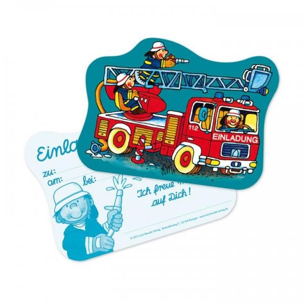 Lutz Mauder Verlag Stanzkarte Einladungs-Set Feuerwehr Benny Brandmeister Spielzeug