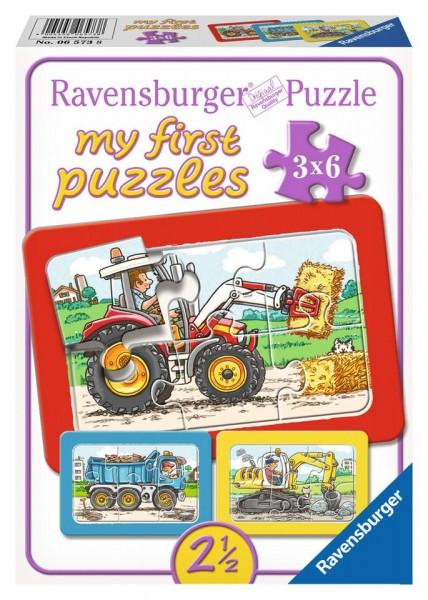 Ravensburger My first Puzzle 3x6 Teile Bagger,Traktor und Kipplader Spielzeug