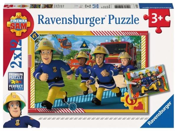 Ravensburger Kinderpuzzle - Feuerwehrmann Sam, Sam und sein Team 2 x 12 Teile Spielzeug