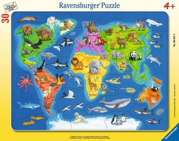 Ravensburger Weltkarte mit Tieren 30 Teile Spielzeug