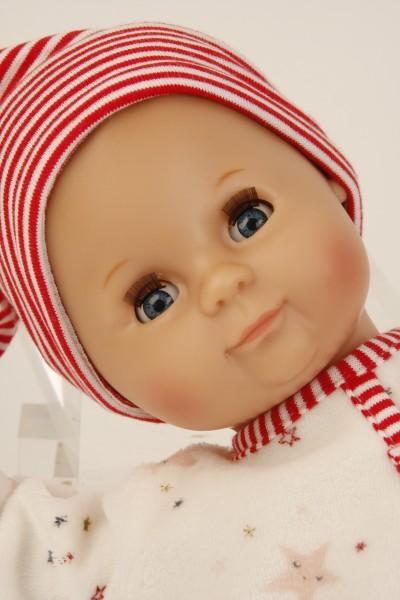 Schildkröt Puppe Schlummerle 32 cm mit Malhaar und blauen Schlafaugen, Overall weiß/rot Spielzeug